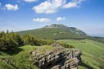 Francia, Auvernia-Rhones-Alpes, Haute-Loire, senderismo en verdes montañas de verano - foto de stock