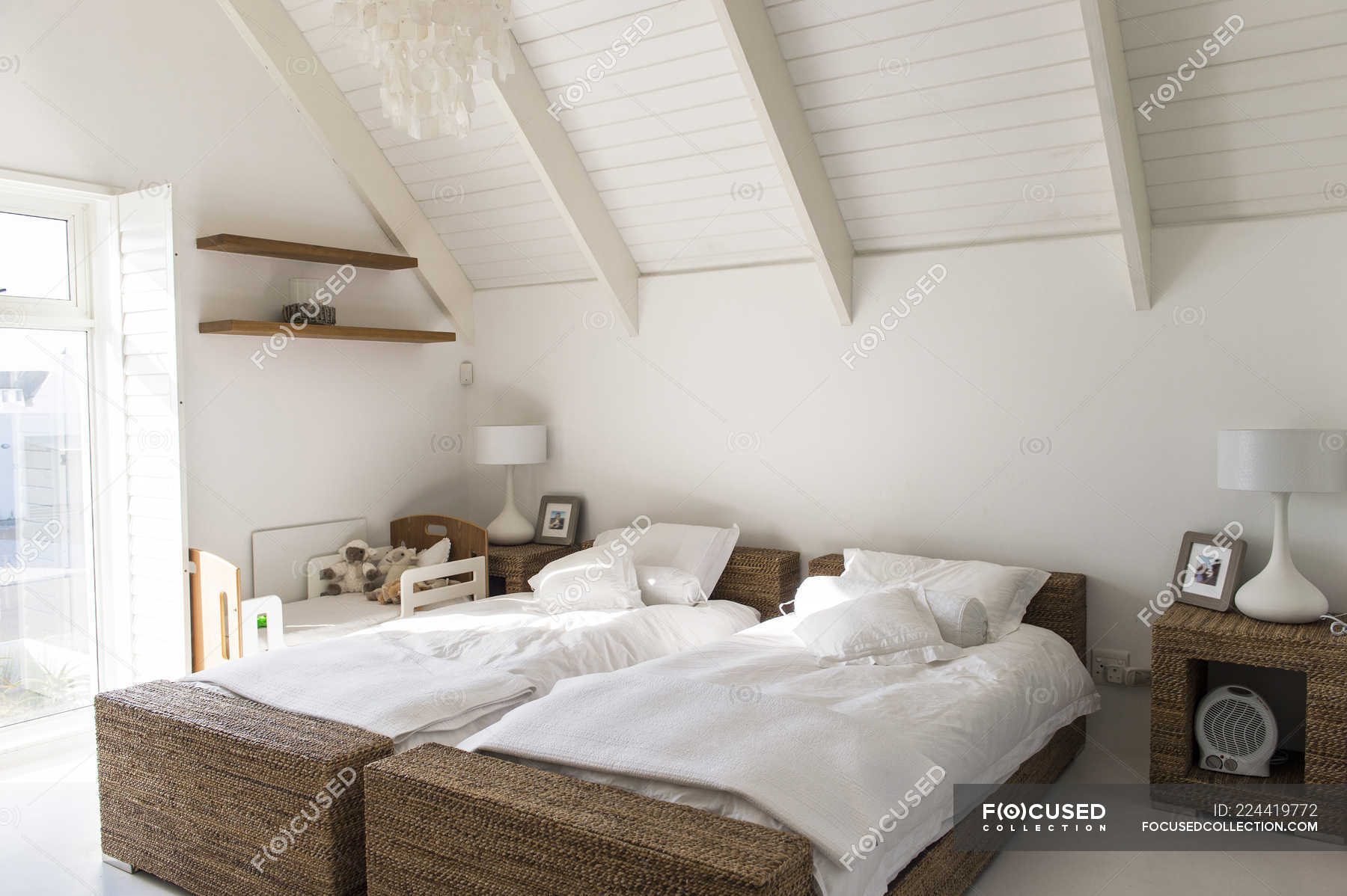 Interior Of Modern Light Bedroom With Two Single Beds Atmosphere Interior Design Stock Photo 224419772