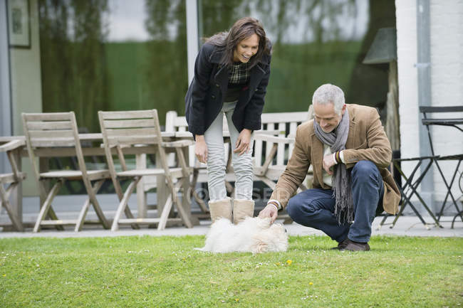 Coppia che gioca con simpatico cane sul prato in giardino — Foto stock