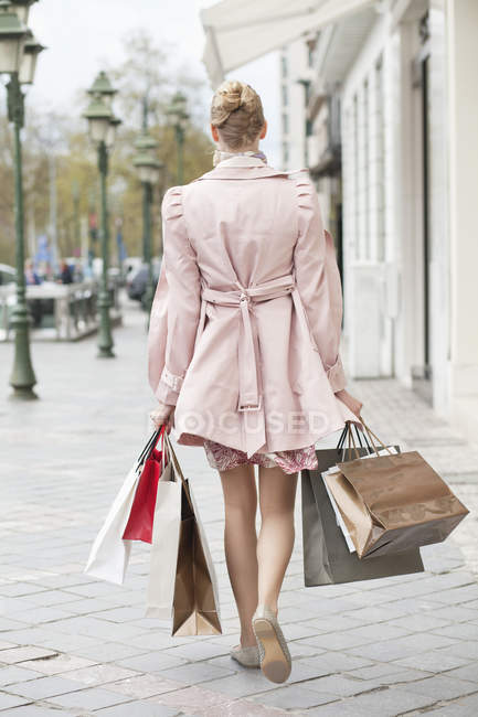 Rear view of elegant woman carrying shopping bags — Stock Photo