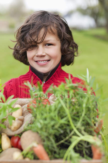 Ragazzo felice che tiene cassa di verdure fatte in casa in campo — Foto stock
