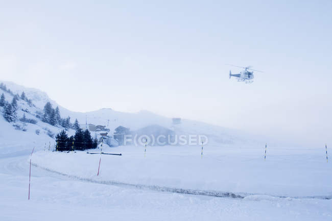 France, helicopter landing at Courchevel heliport — стокове фото
