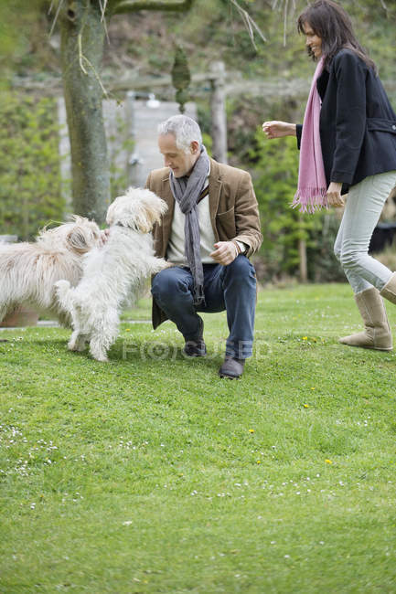 Couple playing with cute dogs in garden — Stock Photo
