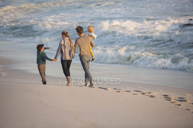 Rear view of family walking sandy on beach — Stock Photo