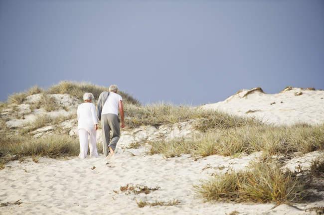 Vue arrière du couple de personnes âgées marchant sur la côte — Photo de stock