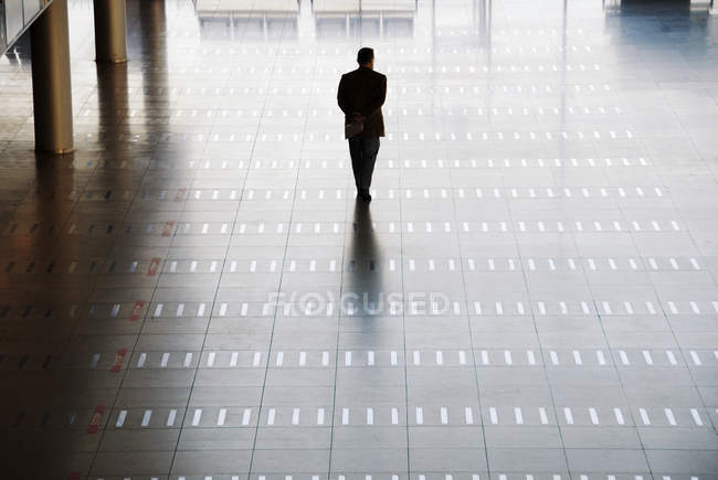 Silhouette of man walking at airport, rear view — Stock Photo