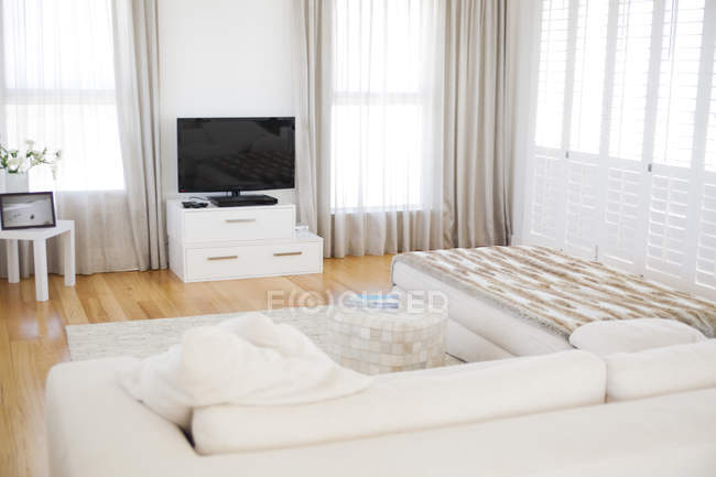Interior of modern living room with cozy sofa — Stock Photo