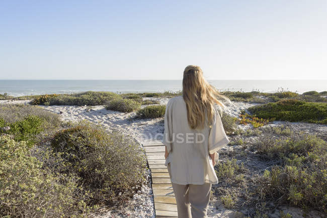 Rear view of woman standing on beach and looking at view — Stock Photo