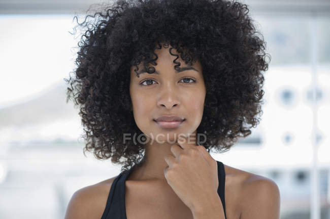 Portrait of sensual woman with afro hairstyle — Stock Photo