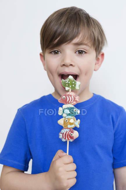 Portrait de mignon petit garçon manger des bonbons sur bâton — Photo de stock