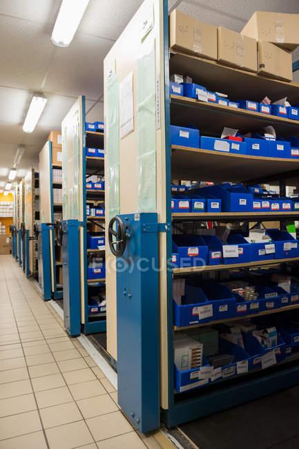 Medicine in shelves at hospital pharmacy — Stock Photo