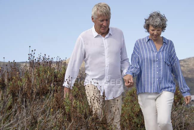 Heureux couple de personnes âgées marchant sur un paysage herbeux — Photo de stock