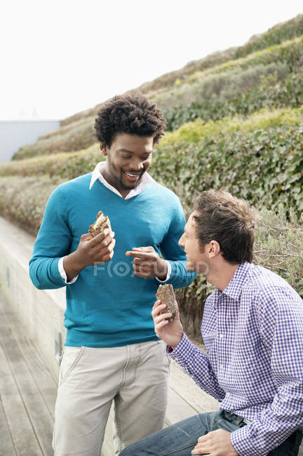 Male friends eating sandwiches on boardwalk in nature — Stock Photo