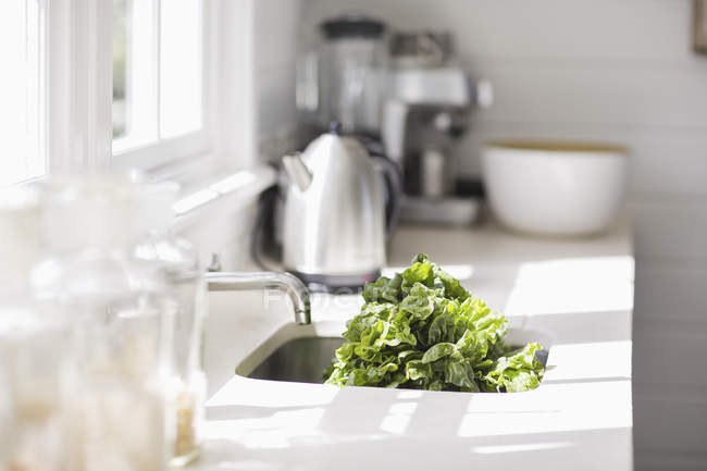 Lettuce salad in kitchen sink, selective focus — Stock Photo