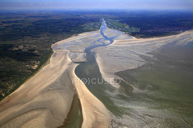 Aerial view of terrain, France, Northern France, Pas de Calais, Cote d'Opale. Le Touquet. Canche Bay. — стоковое фото