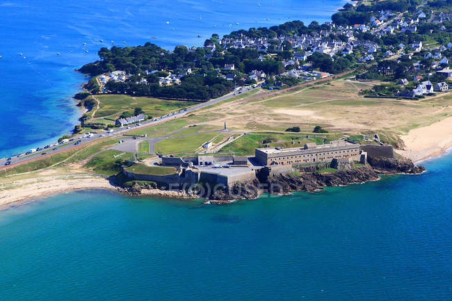 Aerial view of Penthievre Fort on cliff on Quiberon peninsula,Western France, France — Stock Photo