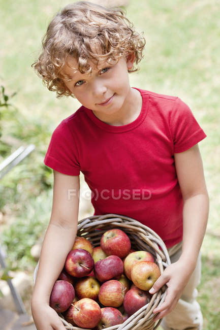 Ritratto del ragazzino che tengono il cesto di mele fresche raccolte all'aperto — Foto stock
