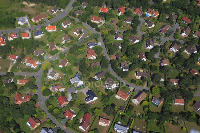 Aerial view and houses on fields, France, Northern France, Pas de Calais, Cote d'Opale. Hardelot — Stock Photo