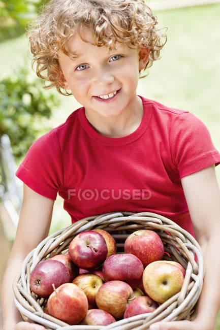 Retrato de niño con cesta de manzanas frescas cogidas al aire libre - foto de stock