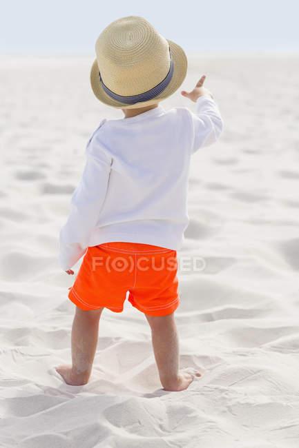 Вид сзади на мальчика в соломенной шляпе, стоящего на песчаном пляже — стоковое фото