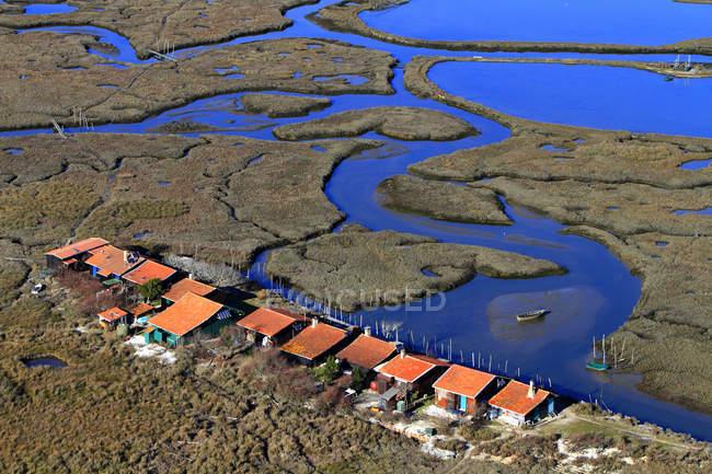 Frankreich, Gironde. Arcachon Bay. Vogelinsel. Fischerdorf an der Meeresküste — Stockfoto