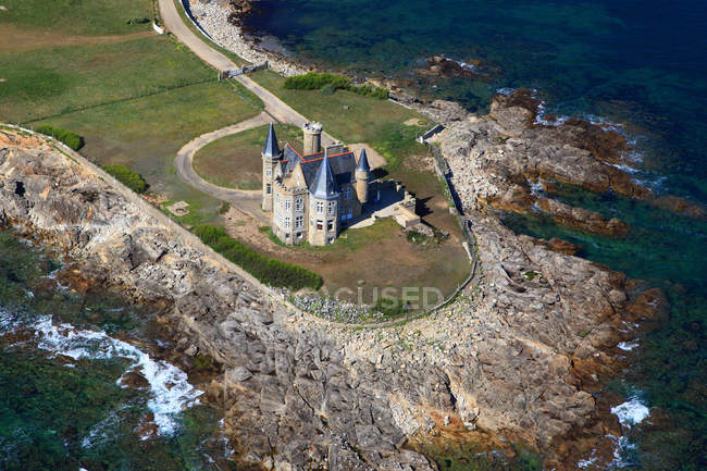 Aerial view of Castle of Quiberon. on Quiberon peninsula, Western France, France — Stock Photo