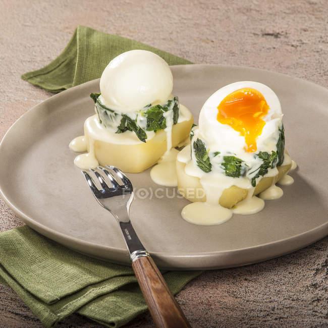 Geriebene Samba-Kartoffelscheiben mit gekochten Eiern — Stockfoto