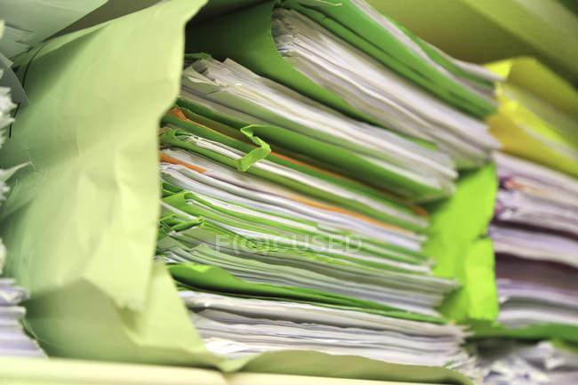 Green files, selective focus — Stock Photo