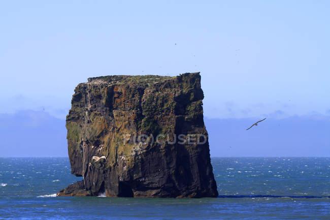 Felsen über der Wasseroberfläche, Island, Gewand-Inseln. Elliaey-Insel. — Stockfoto