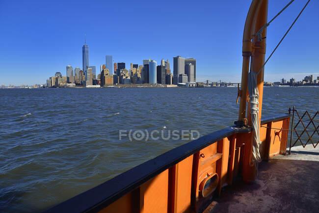 USA, New York, Wall Street, la Torre della Libertà e Hudson Bay per il traghetto Staten Island — Foto stock