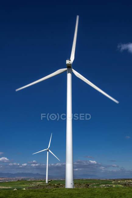 Spain, Aragon, Zaragoza, wind turbines between Muel and Belchite — Stock Photo