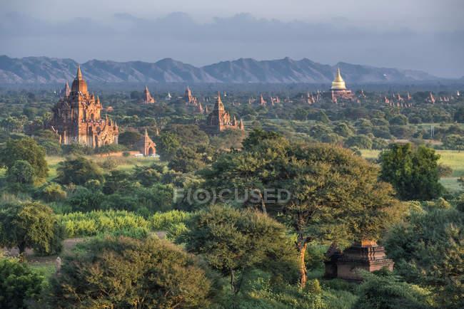 Myanmar, Mandalay area, Bagan archaeological site between green trees — Stock Photo
