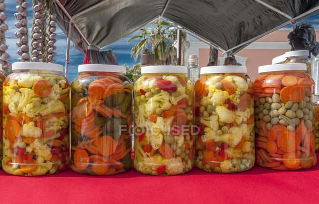 Todos Santos Magical Village, barattoli di verdure — Foto stock