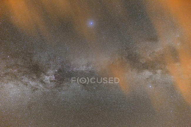 Summer Milky Way shining and clouds in night sky — Stock Photo