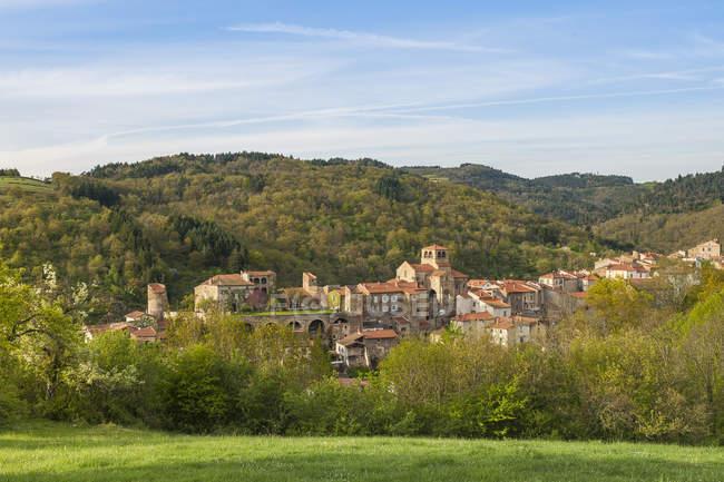 Франция, Озон-Рон-Офес, Луара, средневековый городок Озон в горах — стоковое фото