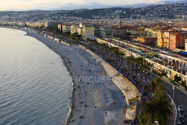 Франция, Ницца, вид на Средиземное море, Залив Ангелов — стоковое фото