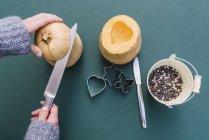Detail of hands of woman cutting pumpkins for bird feeders with birdseeds in bucket. — Stock Photo