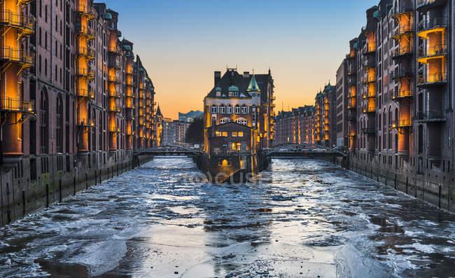 Speicherstadt warehouse district in winter, Hamburg, Germany — Stock Photo