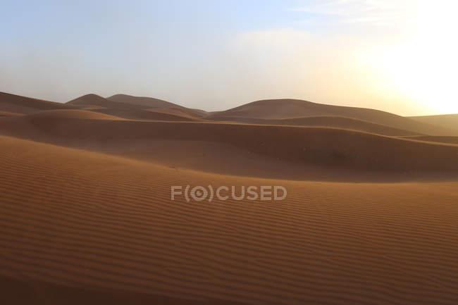 Deserto de dunas de areia na luz solar com ondulações no Saara, Chigaga Erg, Marrocos, noroeste da África — Fotografia de Stock