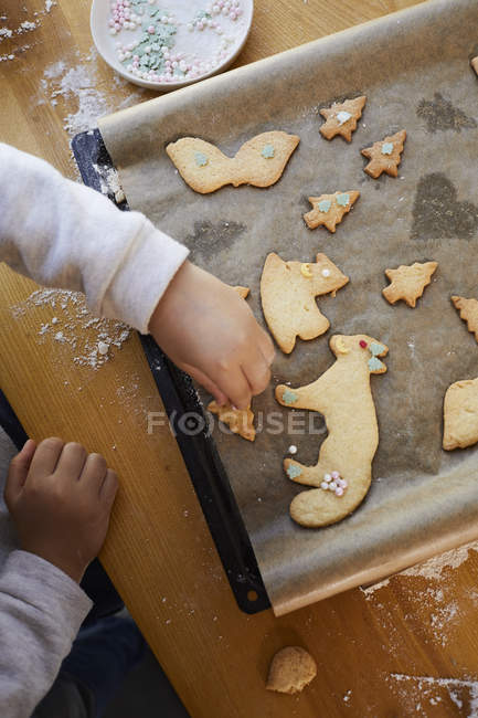 Cropped view of little girl decorating baked Christmas cookies with sugar pearls on baking tray. — Stock Photo