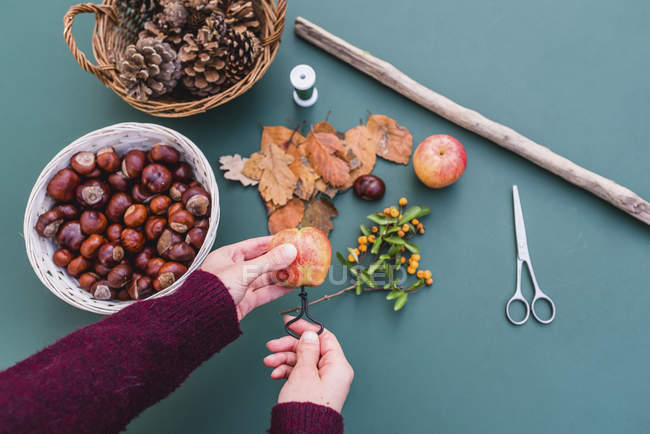 Close-up of female craftsperson hands making autumnal decoration of apples and natural materials — Stock Photo