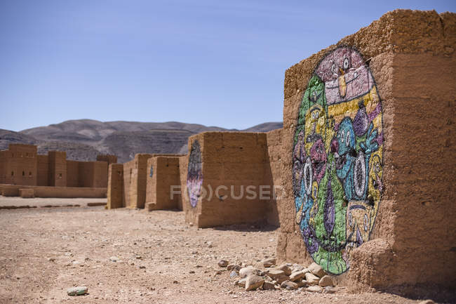 Kasbah Tamnougalt rocks with paintings in Agdz, Morocco — Stock Photo