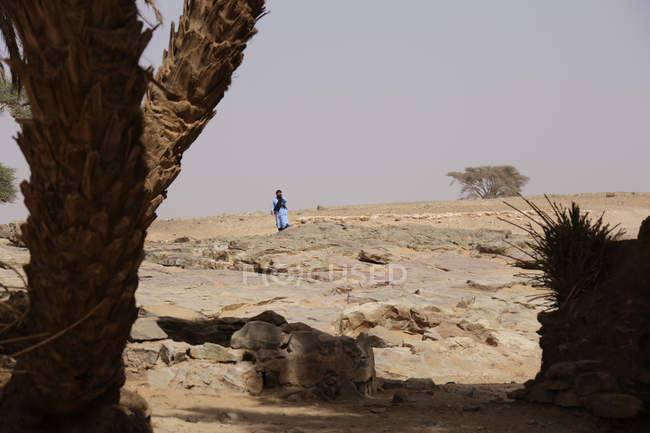 Silhouette of Bedouin in barren landscape of Sahara desert, Erg Chigaga, Morocco — Stock Photo