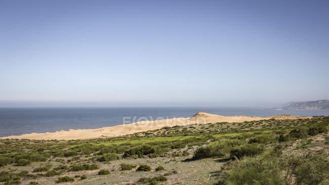 Landscape along Atlantic coast with sand dunes, Tiguert, Morocco — Stock Photo