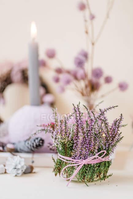 Autumnal lantern decoration with heather — Stock Photo