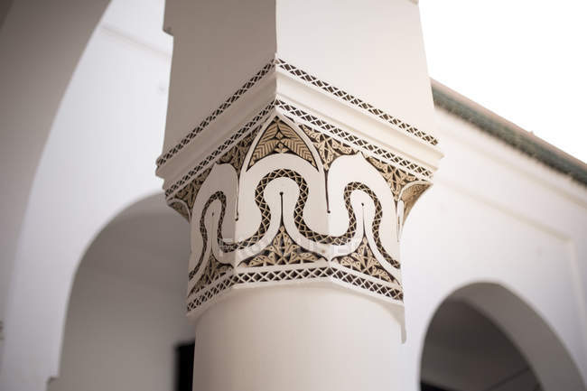 Detail of Ben Youssef Madrasa museum architecture in Marrakesh, Morocco — Stock Photo
