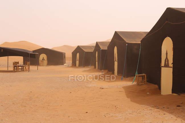 Tent camp in Erg Chigaga in Sahara desert, Morocco, Africa — Stock Photo