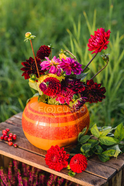 Pumpkin vase with autumnal chrysanthemums flowers on wooden box — Stock Photo