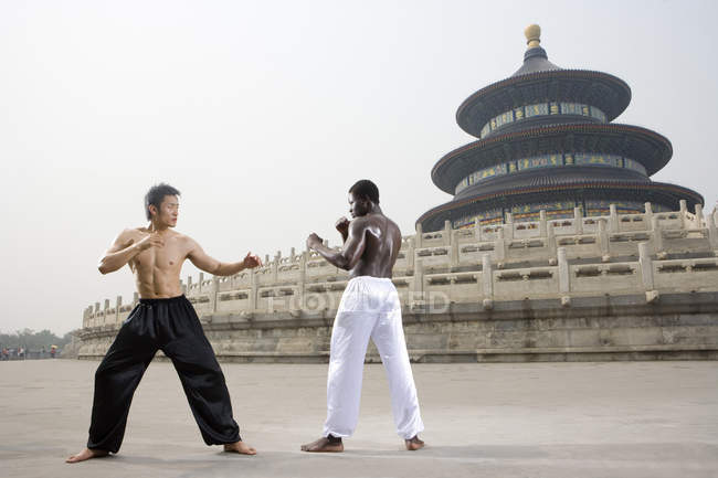 Two men practicing martial art in front of Hall of Annual Prayer, Temple of Heaven, Beijing, China, Asia — Foto stock