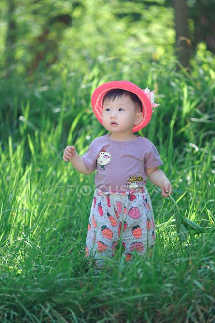Pouco menina asiática andando na grama — Fotografia de Stock